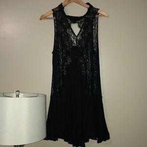 Black lace tunic tank